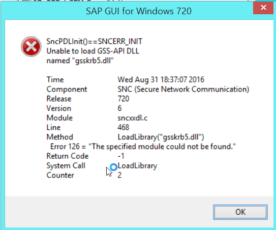 2016 08 31 18 37 17 SAP GUI for Windows 720 - SAP 7.20 SSO(Single Sign On)時エラー